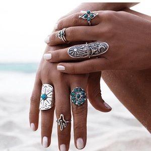 NWT 9 Piece Boho Vintage Turquoise Silver Ring Set